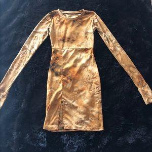 Suede brown sexy side slit tie dye mini dress XS